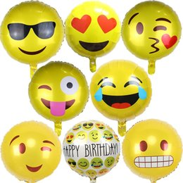 Wholesale Helium Balloon Party - 10pcs lot 18'' expression balloons Emoji foil ballon for birthday party Emoticons helium globos wedding decor air balls
