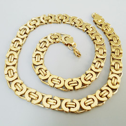 Wholesale Gold Plated Byzantine Necklace - Fashion Stainless Steel Byzantine Chain 16-30inch Wholesale Chain Customized Jewelry 18k Gold Plated Chains Necklace For Men Women