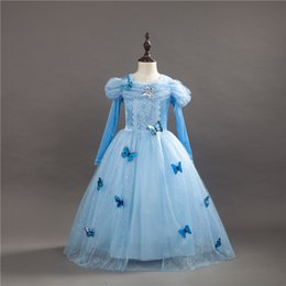 Vestido largo de lycra spandex online-Vestidos para niños Princess Cinderella Fancy Ball Party Wear Girl Beauty Halloween Christmas Costume Vestido de manga larga para niñas azules
