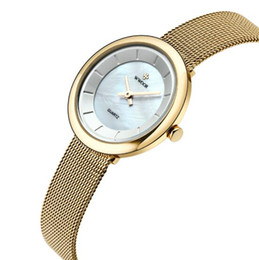 Wholesale strap water proof - Wholesale WWOOR Women Watch Ultra Thin Fashion Luxury Watches Stainless Steel Mesh Strap Quartz Watch Water-Proof Ladies Wristwatch+ Box
