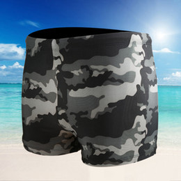 Wholesale Camouflage Boxers - Men's Camouflage Swimming Trunks Indoor And Outdoor Swimming Boxer Trunks Fashion Sexy Man Swimming Loose Trunks