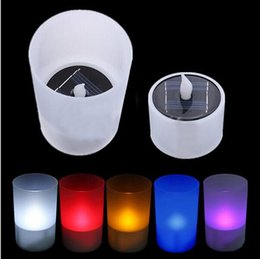 Wholesale Wholesale Plastic Flameless Candles - 2016 new arrivals Light Sensor Solar LED Night Light Candle Lamp Colorful Changing Plastic Flameless for Party Decoration