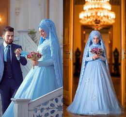 Wholesale Wedding Dresses For Hijab - Elegant Long Sleeve Muslim Dress For Wedding With Hijab Gelinlik Blue Lace Women Vestidos De Novia Plus Size Arabic Formal Dresses