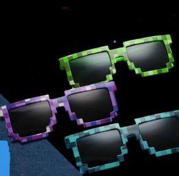 Wholesale kids sunglasses boys - Mosaic Sun Glasses Vintage Square Novelty Pixel Sunglasses Kids and Adults Trendy Minecraft Glasses 4 Colors 300pcs OOA2776