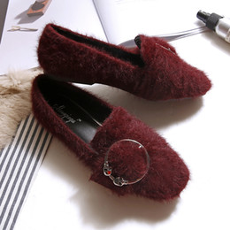 Wholesale Sandal Red Wine - Shoes Woman Flats Mink Hair Square Toe Loafers Metal Buckle Zapatos Shallow Slip on Shoes Slides Sandals Black Wine Red Gray