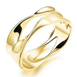 corsage armbänder großhandel Rabatt GJ Jewelry Gold überzogene Armreif Frau Schmuck breites Armband offener Armreif für Frauen 18K Gold überzogener großer Armreif Armbänder Großhandel KH501