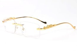 Wholesale Sexy Lens - 2017 lunettes sexy leopard legs rimless men gold metal frame buffalo glasses women round circle rectangle eyewear sunglasses