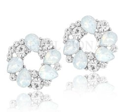 Wholesale Turquoise Earrings Bride - 12 Colors The Latest Design Spring Round Garland Stud Earrings Luxury High Quality Crystal Bride Earrings For Woman