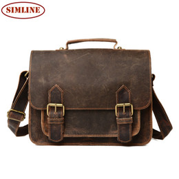 Wholesale Vintage Leather Satchels For Men - Wholesale- New High Quality Vintage 100% Real Genuine Crazy Horse Leather Cowhide Men Handbag Shoulder Messenger Bag Bags Briefcase For Men