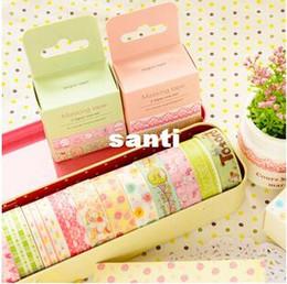 Wholesale Fresh Side - 2 pcs lot Sweet Fresh Style Cartoon Masking Tape Decorative Washi Adhesive Tape DIY Sticker Label