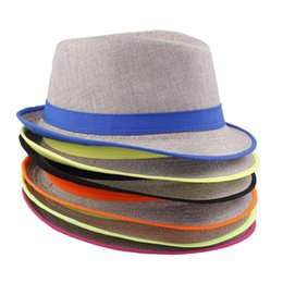 Wholesale Flax Color - 2016 New Arrival 6 Colors Panama Straw Fedora Caps Solid Color Flax Jazz Hats Fashion Spring Summer Beach Sun Hat