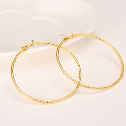 Wholesale Solid Yellow Filled Hoop - Big Round Hip-Hop Earrings New Trendy 14k Yellow Solid Fine Gold Filled Fashion Jewelry 60mm Diameter Large Earrings Women