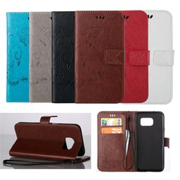 Wholesale Butterfly Galaxy Note Case - Luxury Embossed Butterfly Style Flip PU Leather Stand Wallet Case Cover for Samsung Galaxy S7 Edge S6 Edge Note 5 S5 Phone Cases