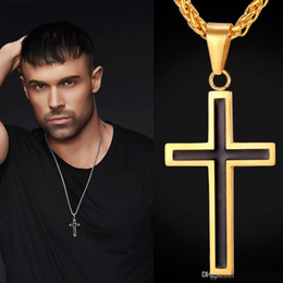 Discount gold cross necklace charm - Europe and America New Fashion Hotsale 18K Yellow Gold 925 Silver Plated Christian Cross Pendant Necklace for Men Women Cool Jewelry JN1028