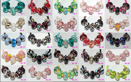 Wholesale Mixed Murano Lampwork - 100 Pcs Mixed 925 Silver Core Murano Glass Lampwork beads For Pandora European Charms bracelets B188