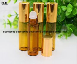 Wholesale Fragrance Oil Bottles Wholesale - Most Popular 5ml 1 6oz ROLL ON AMBER fragrance GLASS BOTTLES ESSENTIAL OIL Glass Roller ball Aromatherapy Bottle FREE Shipping
