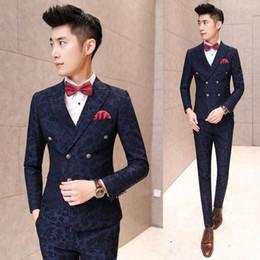 Wholesale Korean Pants For Mens - Korean Floral Italian Slim Fit Tuxedos For Men Burgundy Suit Wedding Dress Royal Blue Mens 3 Piece Suits With Pants Green