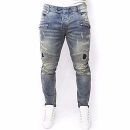 Nouveaux pantalons pour hommes en Ligne-Plus La Taille 2016 Nouveaux Hommes Marque Vêtements Casual Hommes Jeans Skinny Slim Biker Jeans Denim Long Pantalon déchiré jeans homme