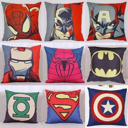 Wholesale Batman Pillow Cases - Superhero Pillow Case Cartoon Pillow Case Superman Batman Captain America Cushion Cover Cotton Linen Pillow Cover Home Textiles Xmas Gift