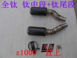 Wholesale Titanium Motorcycle Exhaust - 2010- 2014 Z1000 motorcycle modified exhaust flame exhaust titanium alloy GP fried Street weapon