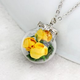 Wholesale Fresh Sweater - Creative in Europe and America literary small fresh dried flowers glass pendant sweater chain necklace handmade jewelry