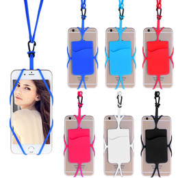 Wholesale Card Holder Necklaces - Universal Silicon Rubber Sling Lanyard Necklace Wrist Strap Phone Case Cover with Card Holder for iphone 6 Plus 6S