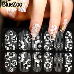 Wholesale 16 Nail Sticker - Wholesale- BlueZoo 1pc Classical Crystal Decoration Nail Art Tip Water Transfer Sticker 3D Lace Decal Full Wrap DIY 16 Designs For Choice