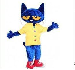 Wholesale Cat Mascots - High quality Pete the Cat Adult Size Halloween Cartoon Mascot Costume Fancy Dress