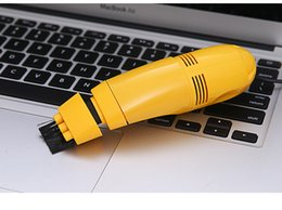 Wholesale Small Computer Vacuum Cleaners - 2016 DHL Christmas Mini Computer Vacuum Black Small USB Brush Flexible Rubber Computer PC Keyboard Cleaner With Retail Package