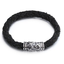 Wholesale Masonic Brands - Brand New High Quality Soft Genuine Black Leather Bracelet Wristband Masonic symbol With Silver Stainless Steel Magnetic Clasp