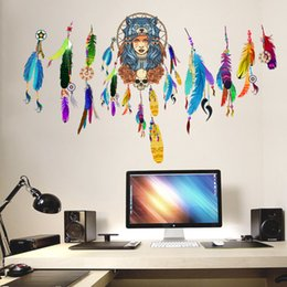 Decorazione indiana di casa di disegno online-Indian Wolf copricapo Colorful Feather Wall Stickers Home Decor Wallpaper Poster Art