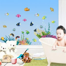 Wholesale Underwater Wall Decorations - 100pcs ZY2011 Aquatic plants fishes underwater Kids room decor nursery wall sticker 2011. home decals baby room home decoration mural 2.5