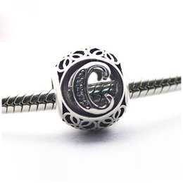 Wholesale Sterling Silver European Letter - 2016 european style 925 sterling silver charms letter C fits pandora original bead bracelet pendant diy making jewelry