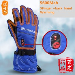 Wholesale Heat Finger - Wholesale- 5600Mah Autumn and Winter 5 Fingers and Back of Hand Heating Gloves Smart touch electric Outdoor lithium-ion batteries gloves