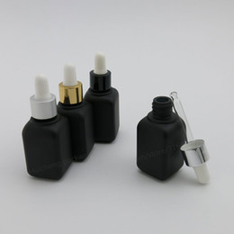 Wholesale Black Frosted Bottles - 12 x 30ml Square Frost Black Glass Essential Oil Bottle With Dropper 1OZ Essential Oil Container