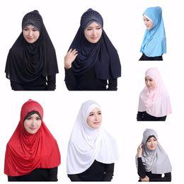 Wholesale scarves shimmer - Women Muslim Ice Silk Scarf Lady Islamic Ramadan Hijab Scarf Shawl Wrap Headwear with diamond