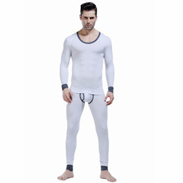 Wholesale Autumn John - 2016 New WJ men's long johns set lycra Modal male legging autumn and winter thermal underwear Long Johns set 6 colors M L XL