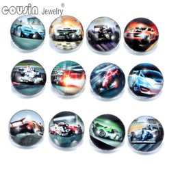 Wholesale Racing Charms - 12pcs lot Mixed Colors F1 Formula Racing 18mm snap button Jewelry Faceted glass Snap Fit snap Bracelet Jewelry KZ0140