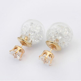 Wholesale Unique Earrings Gold Plated - In Europe and the United States, the crystal ball earrings charm unique style earrings zinc alloy earrings wholesale best gift