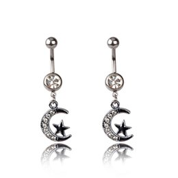 Wholesale White Crystal Ball Piercing Jewelry - Surgical Steel Ball Jewelry Crystal white Moon&Star Dangle Navel&Bell Button Ring Lady Body Piercing Gift