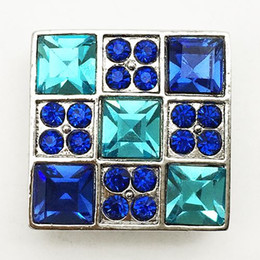 Wholesale Crystal Cross For Jewelry Making - MN3071 Crystal Square Metal Snap Button Jewelry For Bracelet (fit 18mm 20mm Snap) DIY Jewelry making Fit for necklace bracelet ring