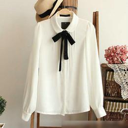 Wholesale White Blouse Peter Pan Collar - Fashion female elegant bow tie white blouses Chiffon peter pan collar casual shirt Ladies tops school blouse Women Plus Size