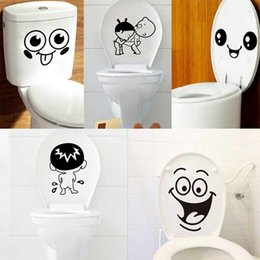 Wholesale Tile Mural Stickers - Wholesale- 1pcs Bathroom Wall Stickers For Toilet Home Decoration Waterproof Wall Decals For Toilet Sticker Vinyl Cartoon Home Decor Mural