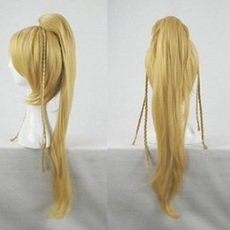Wholesale Final Cosplay - 100% Free shipping New High Quality Fashion Picture wigs>>Hot ! Final Fantasy Rikku cosplay wig BLONDE Long coser tail party costume hair
