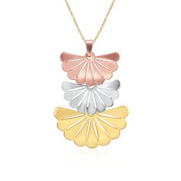 Wholesale Fans Products - 2017 new product factory price high quality jewelry 925 silver jewelry, fan-shaped pendant classic wind ladies necklace gold color N154-A