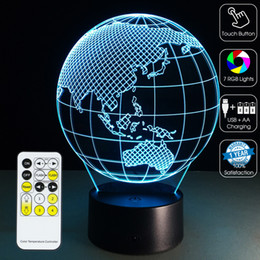 Canada La Terre 3D Lumière 3D Lampe 3D Lampe Optique Veilleuse 7 RGB Lights Dimmable DC 5 V AA Batterie IR Télécommande Retail Box supplier ir control box led Offre