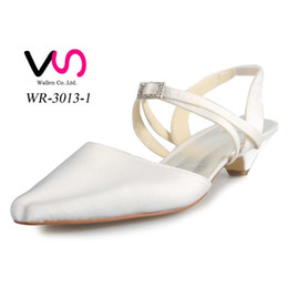 Wholesale Toe Pointed Rhinestone Low Heels - Ivory Flat Small Low Heel crystal buckle Women Bridal Wedding Shoes Wedding Dress Shoes From Size 35-Size 42 Any Color is accepted