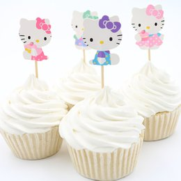 Wholesale Cup Party Supplies - Wholesale- 24PCS kids birthday party supply gift Baby shower party decoration Hello Kitty cup cake topper pick wedding decoration