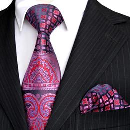 Wholesale Pink Ties Handkerchiefs - E4 Tie Sets Pink Navy Blue Purple Floral Pattern Mens Necktie Handkerchief 100% Silk New Free Shipping