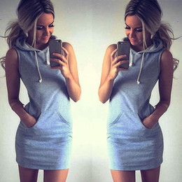 Wholesale Ladies Dress Suits Wholesale - Wholesale- Feitong Women Casual Hoodies Dress 2017 Summer Ladies Sleeveless Sweatshirt Suits Tracksuit femme swear Dress